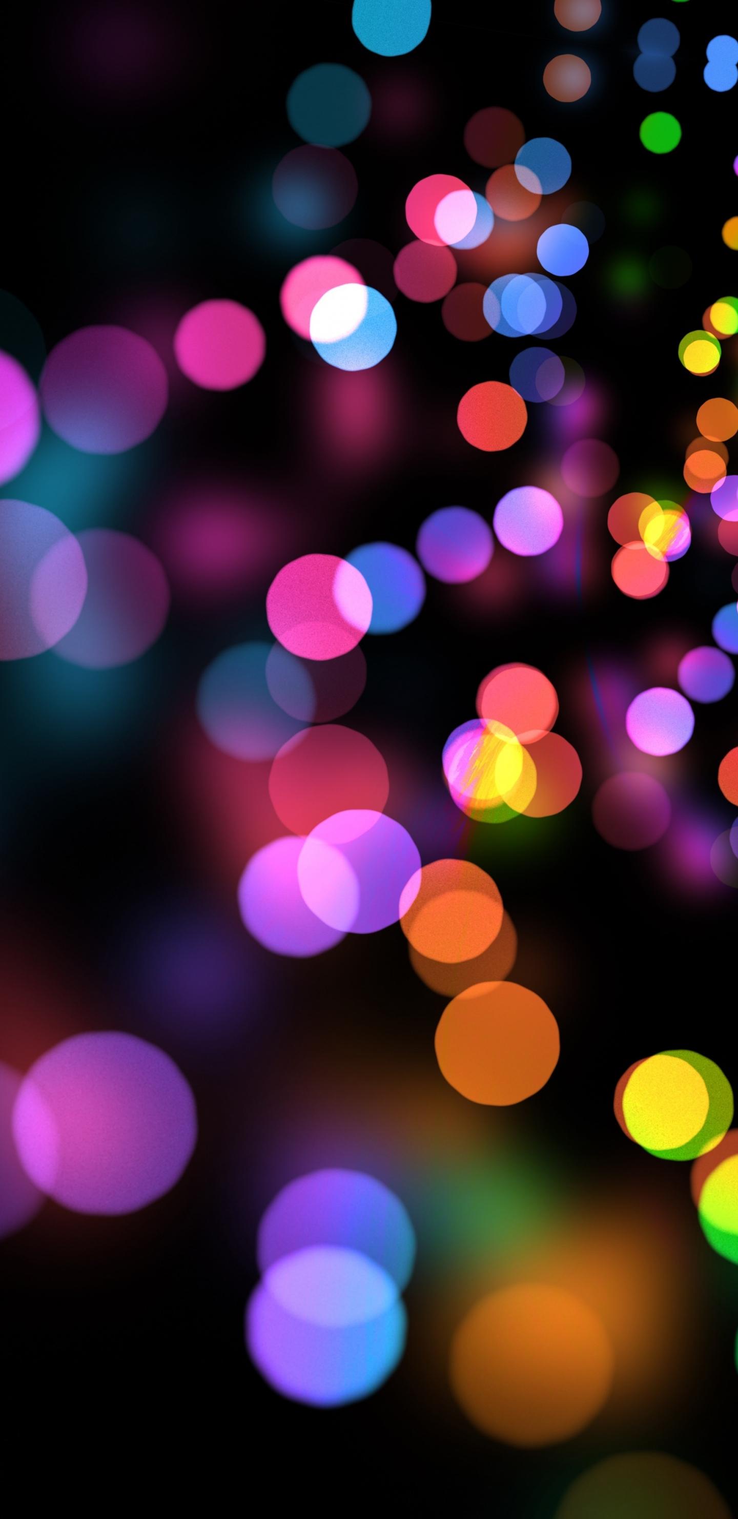 Party Lights Circles Colorful Bokeh 1440x2960 Wallpaper