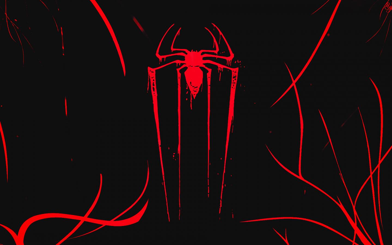 Logo, minimal, spider-man, dark, 1440x900 wallpaper