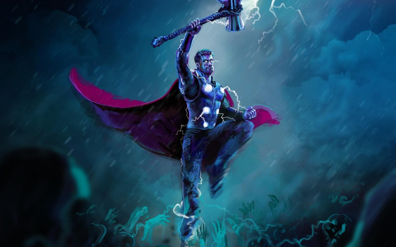 Download 1440x900 Wallpaper Thor, Thunder Storm, Artwork