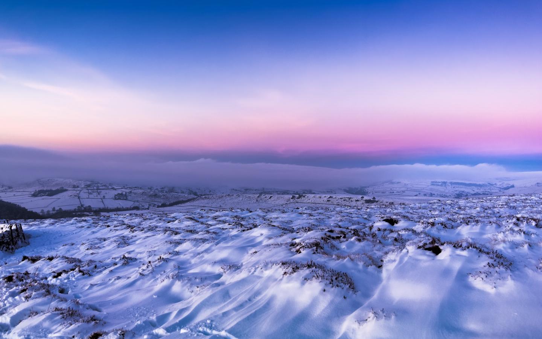 Download 1440x900 Wallpaper Snow Landscape Pink Sunset