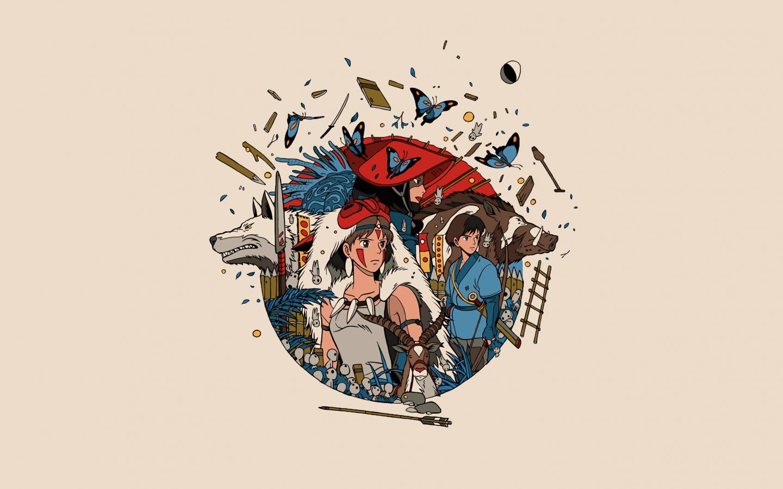 Minimal, anime, princess mononoke, 1440x900 wallpaper