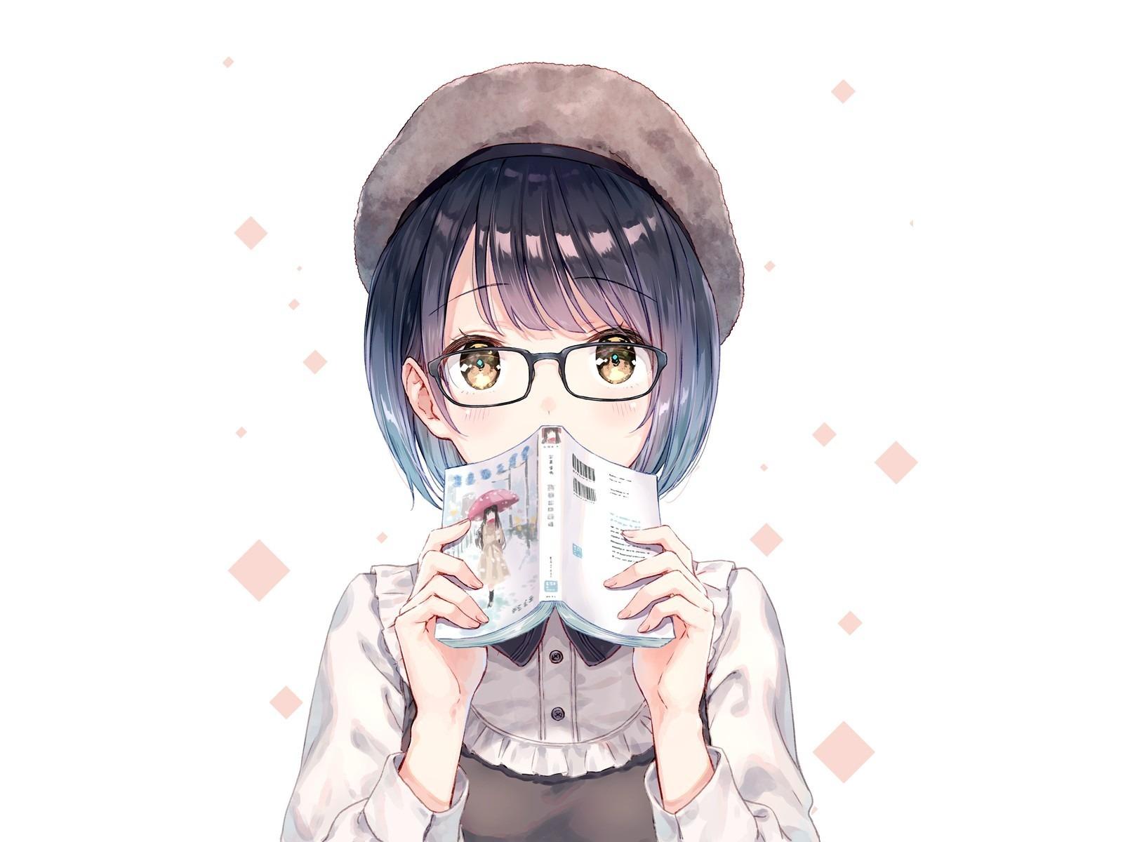 Anime girl short hair book 1600x1200 wallpaper