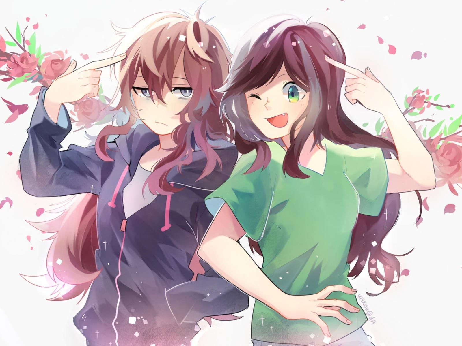 download 1600x1200 wallpaper two crazy girls, fun, anime, standard 4