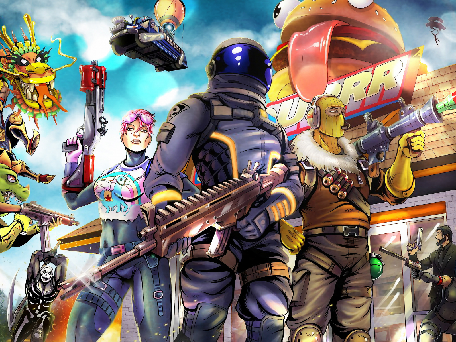 2018 video game fortnite art 1600x1200 wallpaper - fortnite pc 4 3