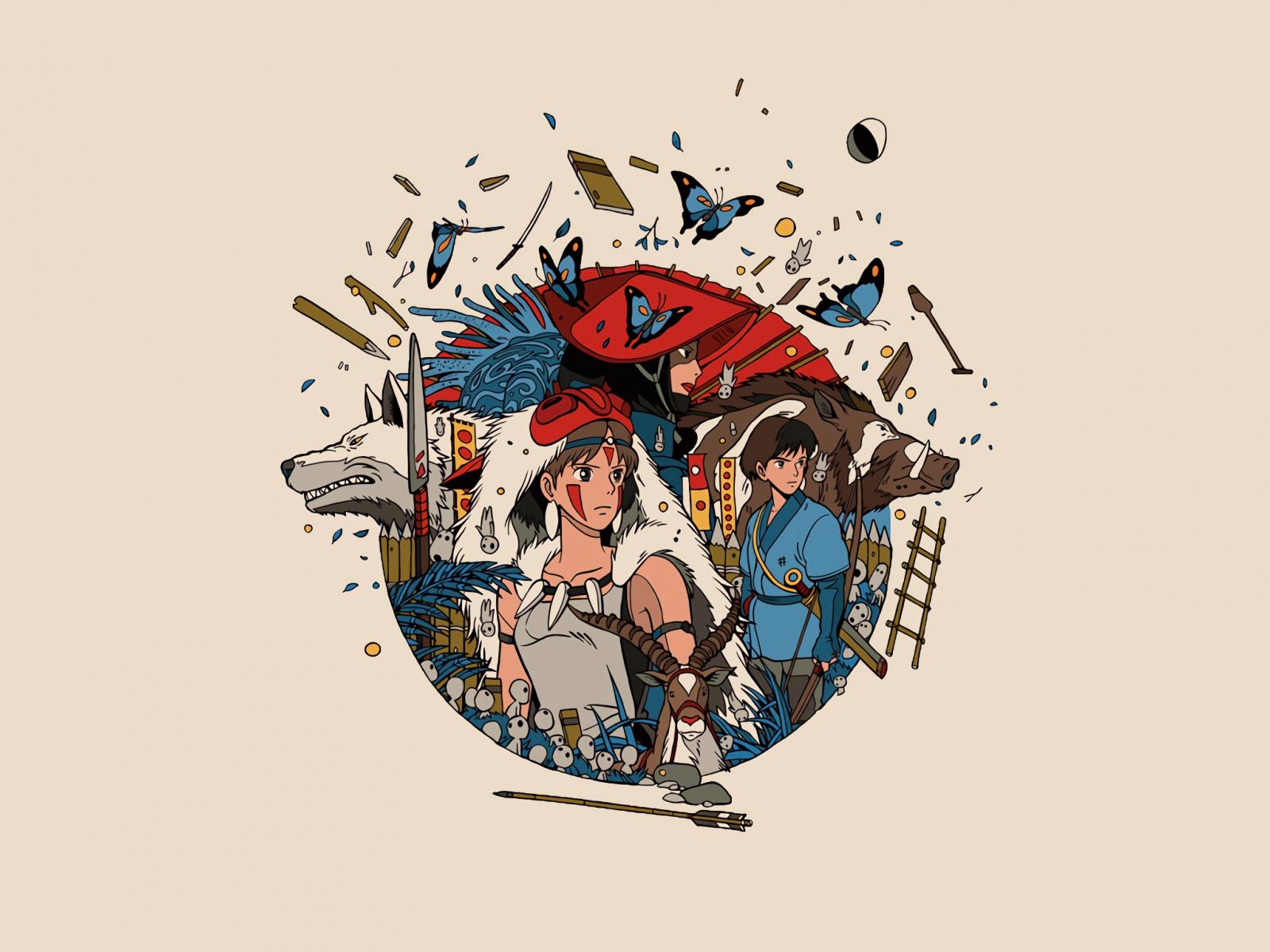 Minimal, anime, princess mononoke, 1600x1200 wallpaper