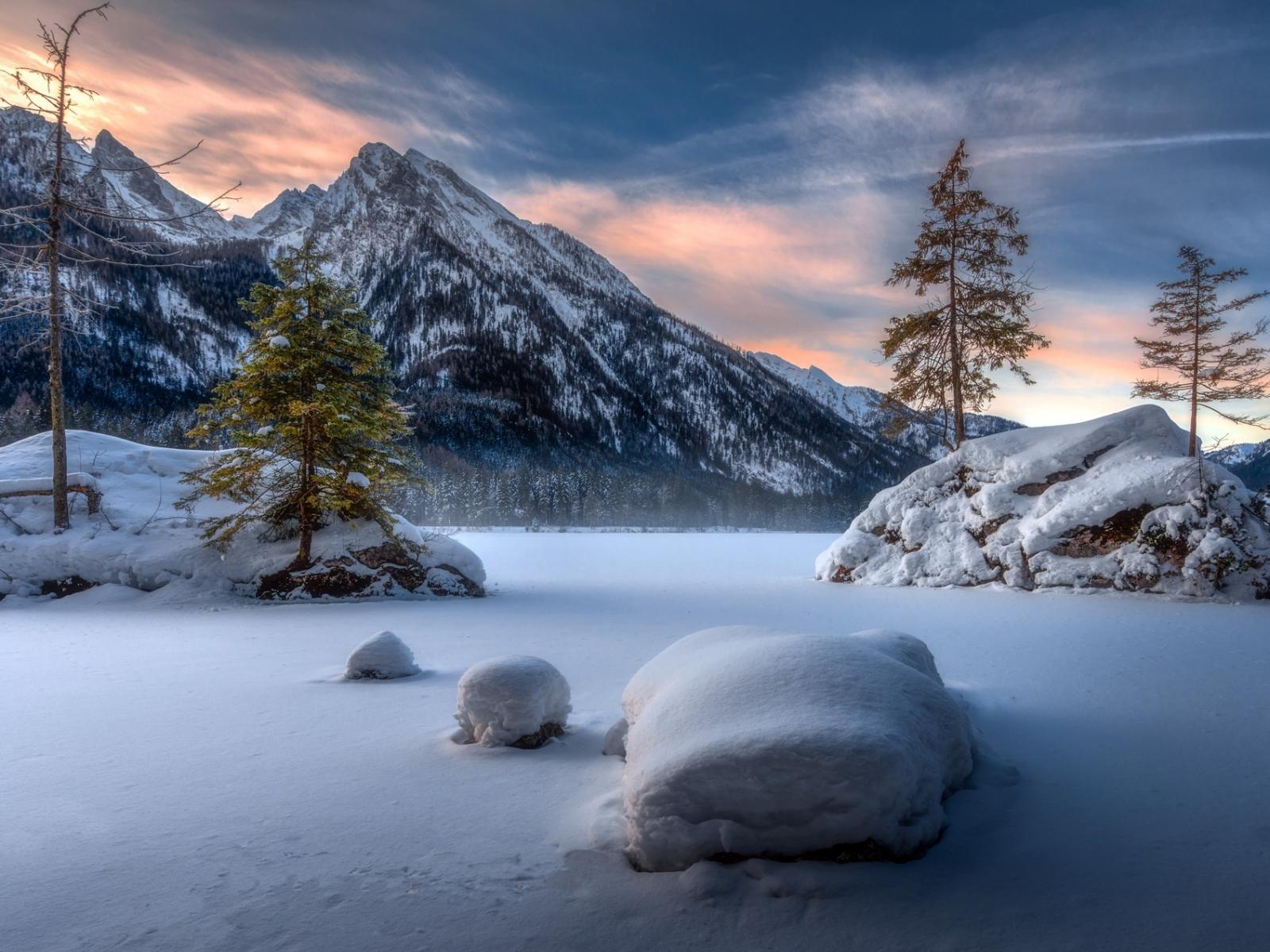 Landscape, mountains, winter, sunset, 1600x1200 wallpaper
