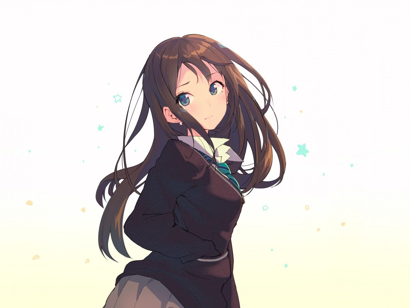 Download 1600x1200 Wallpaper Anime Cute School Girl Long Hair