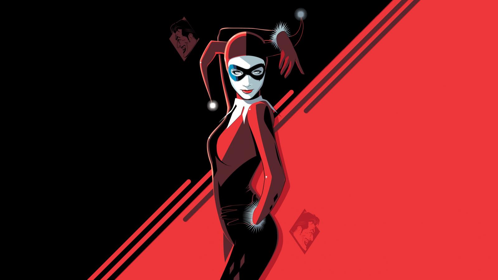 Harley Quinn, minimal, villain, minimal, art, 1600x900 wallpaper