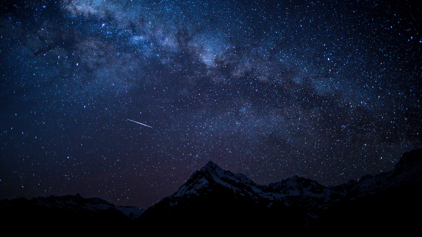 Starry sky, night, mountains, nature, 1600x900 wallpaper