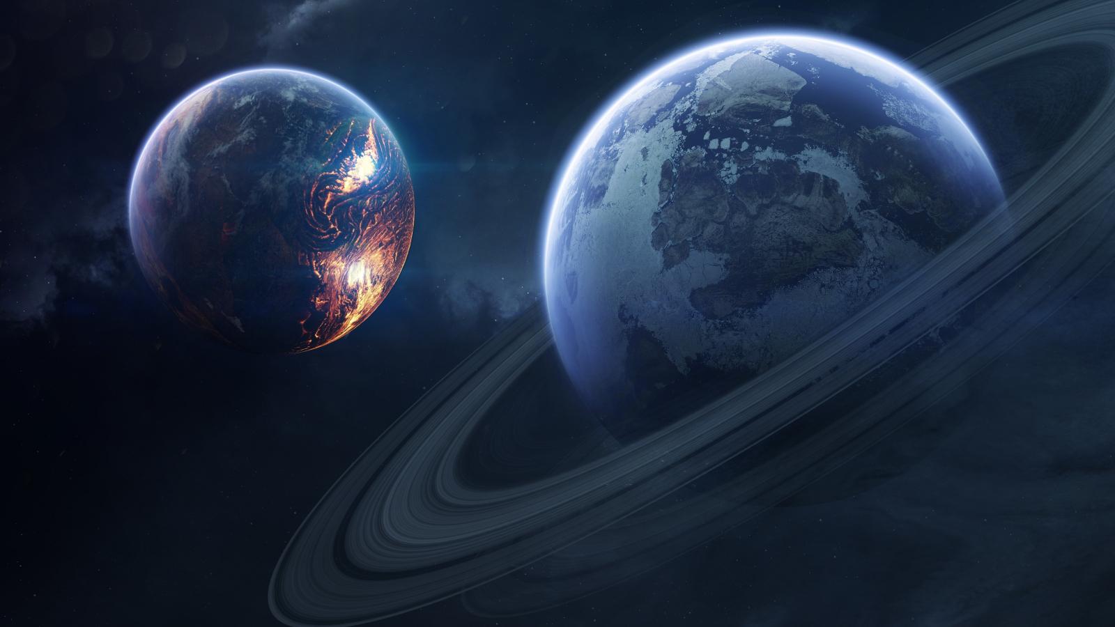 Saturn, space, planet of rings, 1600x900 wallpaper