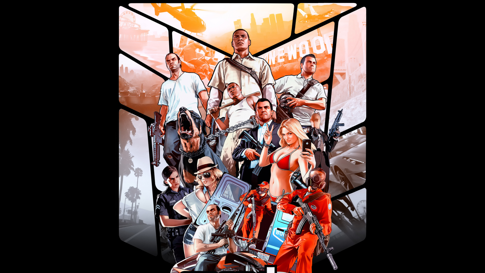Grand Theft Auto V Poster Video Game 1600x900 Wallpaper