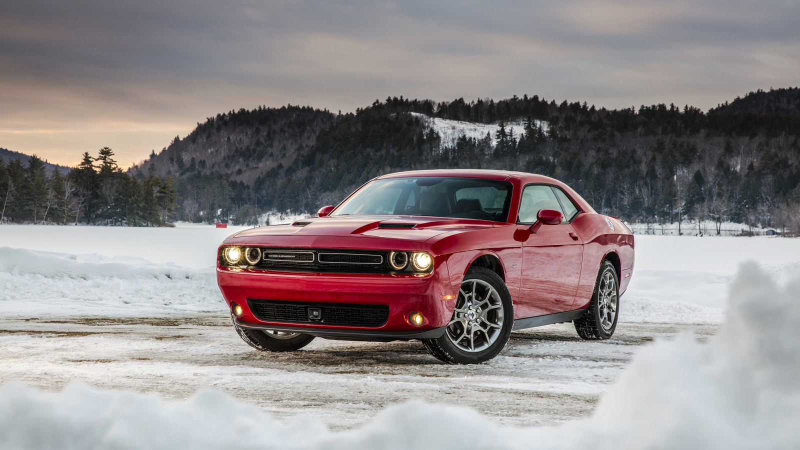 Dodge challenger, red muscle car, 1600x900 wallpaper