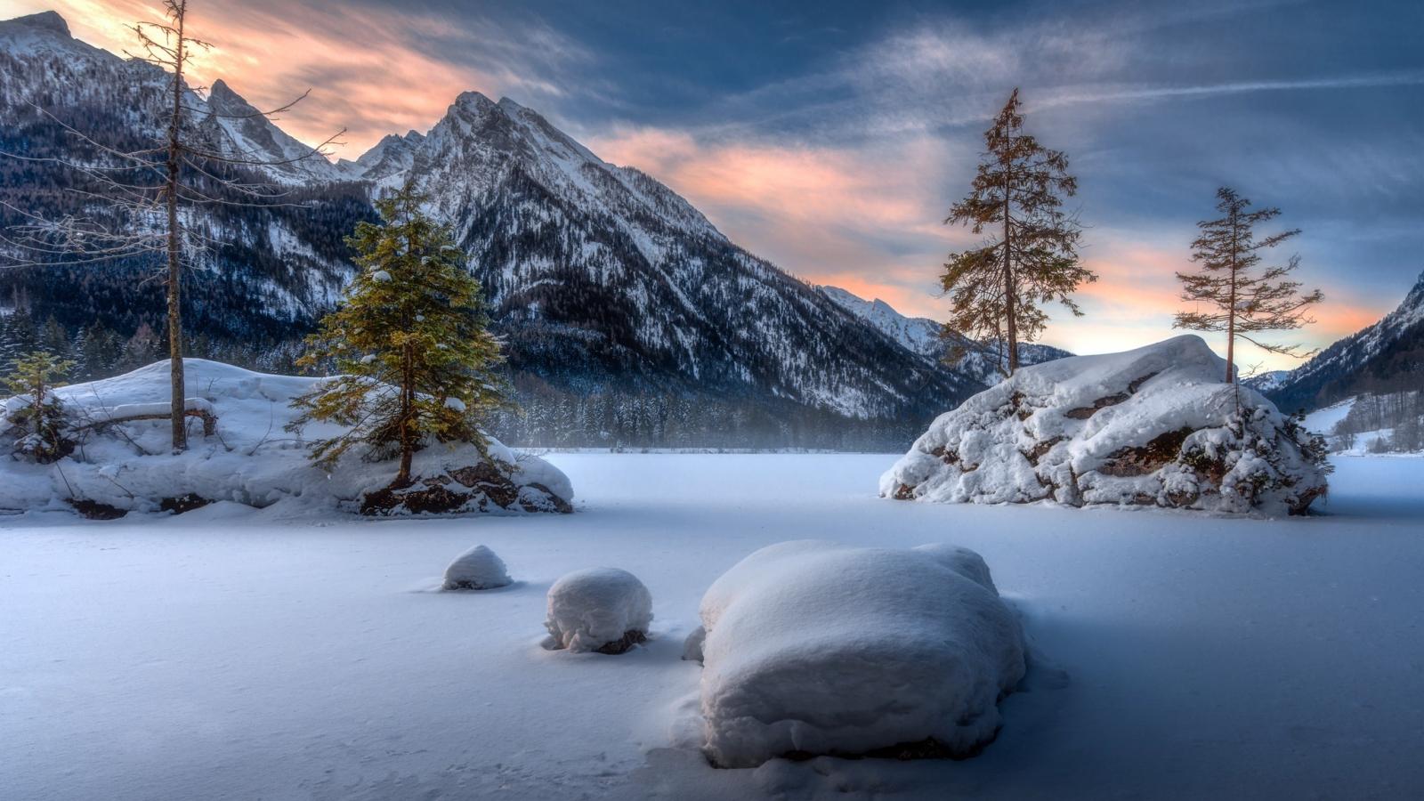 Landscape, mountains, winter, sunset, 1600x900 wallpaper