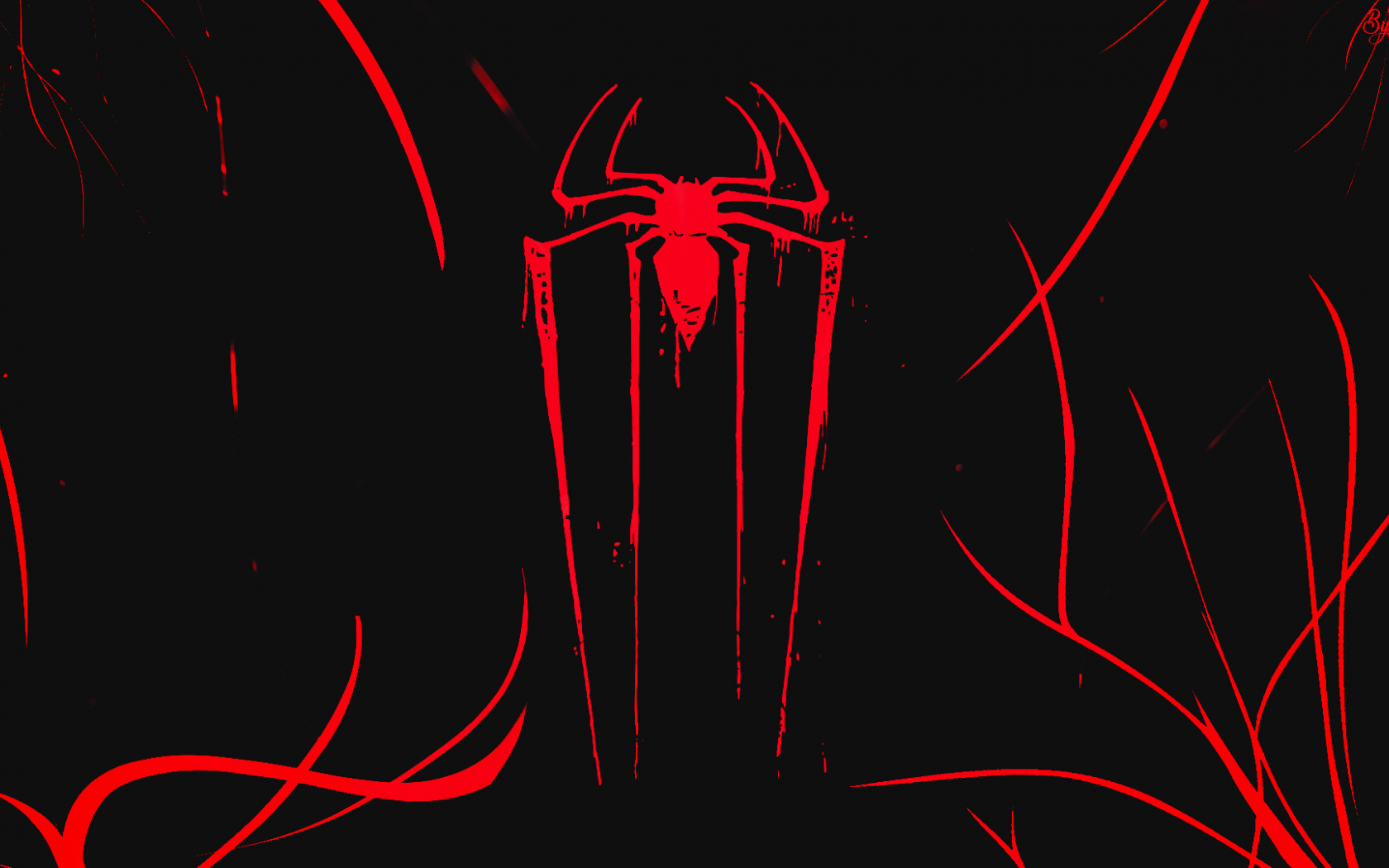 Logo, minimal, spider-man, dark, 1680x1050 wallpaper