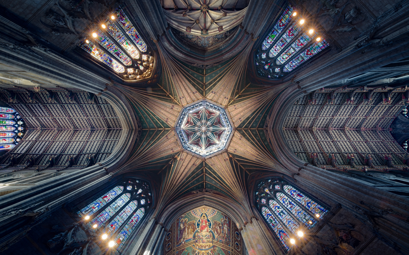 Ceiling, cathedral, symmetrical interior, architecture, 1680x1050 wallpaper