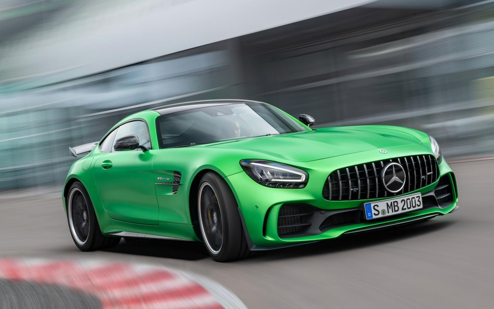 Mercedes-AMG GT, green car, on-road, 1680x1050 wallpaper