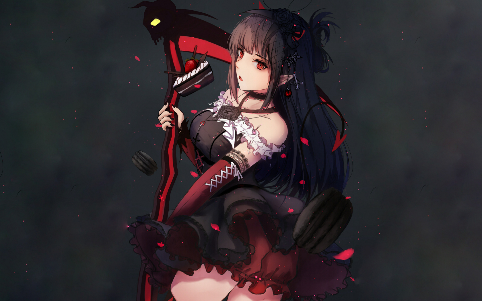 Download 1680x1050 wallpaper dark, anime girl, ruby rose ...