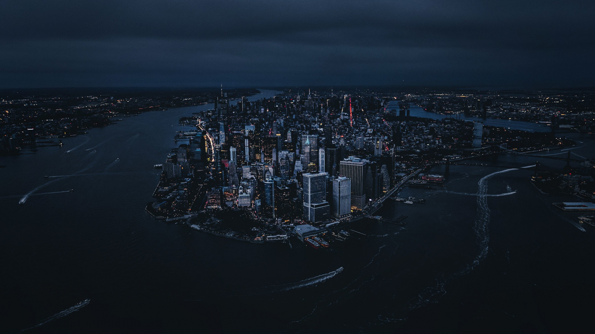 Download 1920x1080 Wallpaper New York City Aerial View