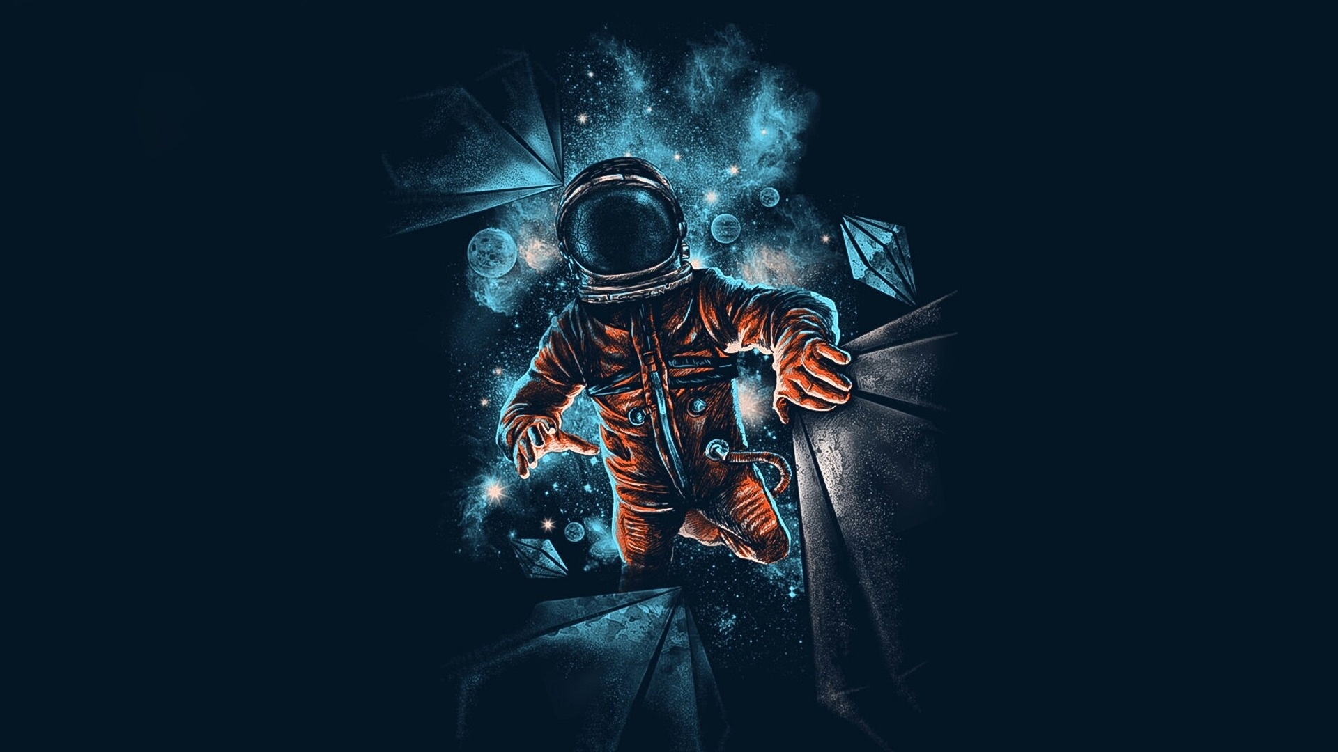 Download 1920x1080 wallpaper space astronaut galaxy dark artwork full hd hdtv fhd 1080p - 1366x768 is 720p or 1080p ...