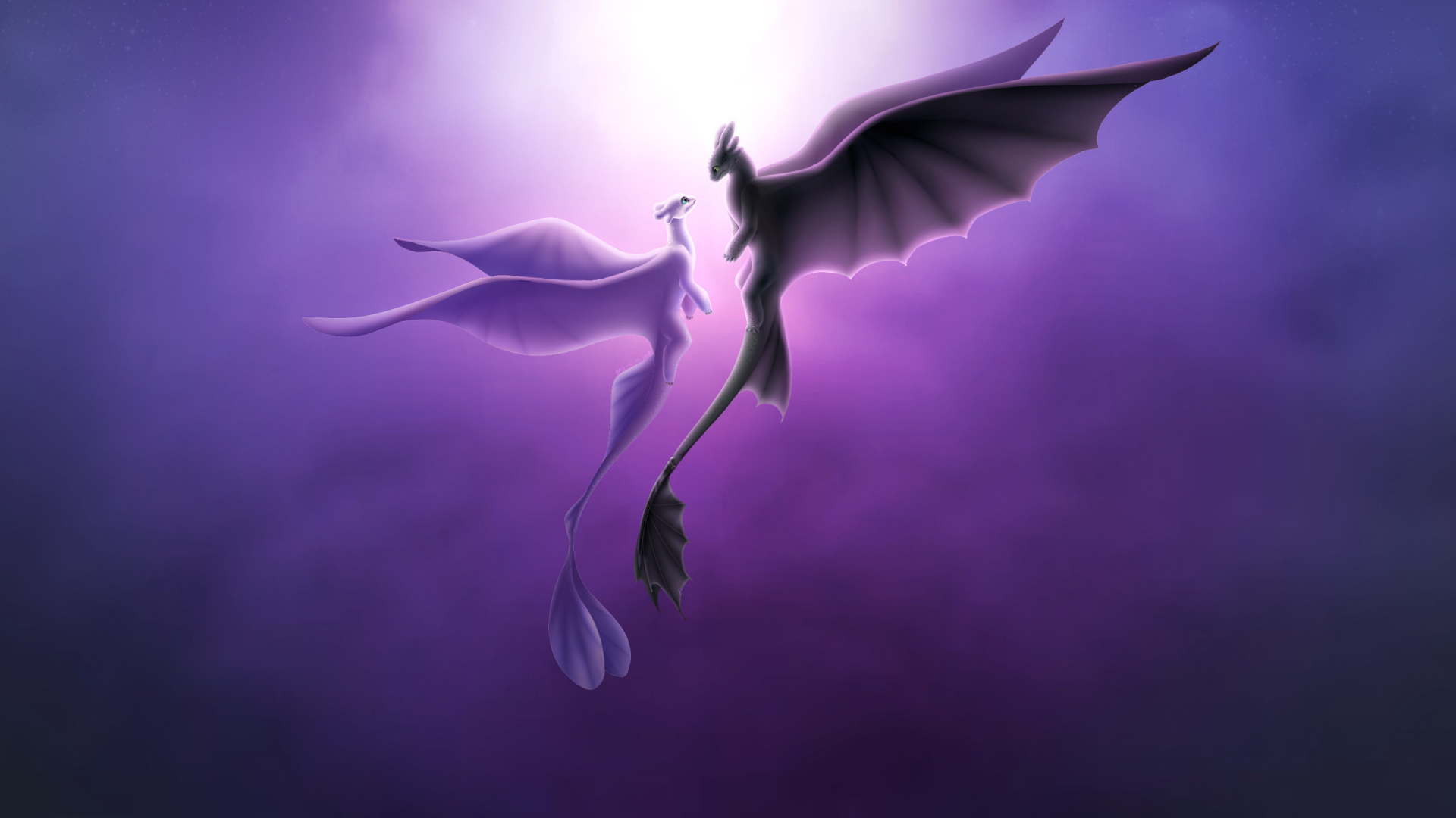 Toothless and light fury, romantic, love, Dragons, 1920x1080 wallpaper
