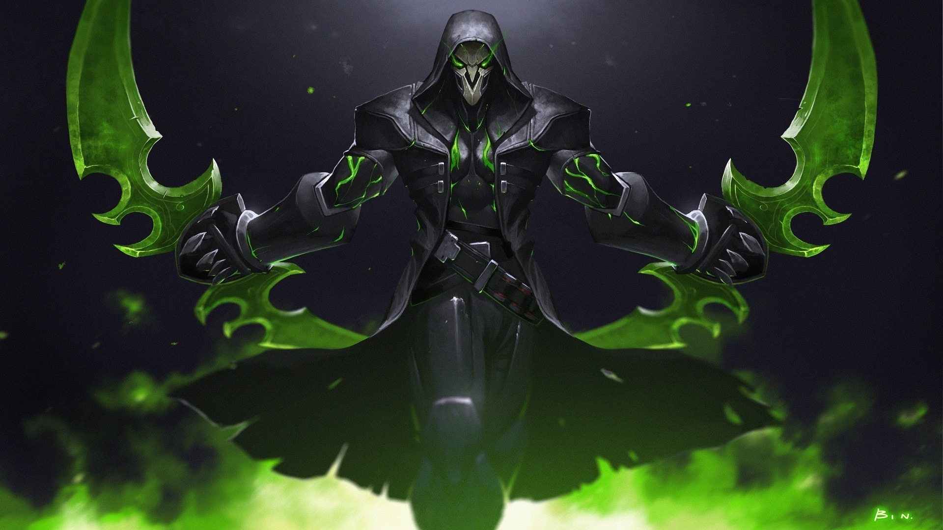 Download 1920x1080 wallpaper green reaper overwatch warrior online game full hd hdtv fhd - 1366x768 is 720p or 1080p ...