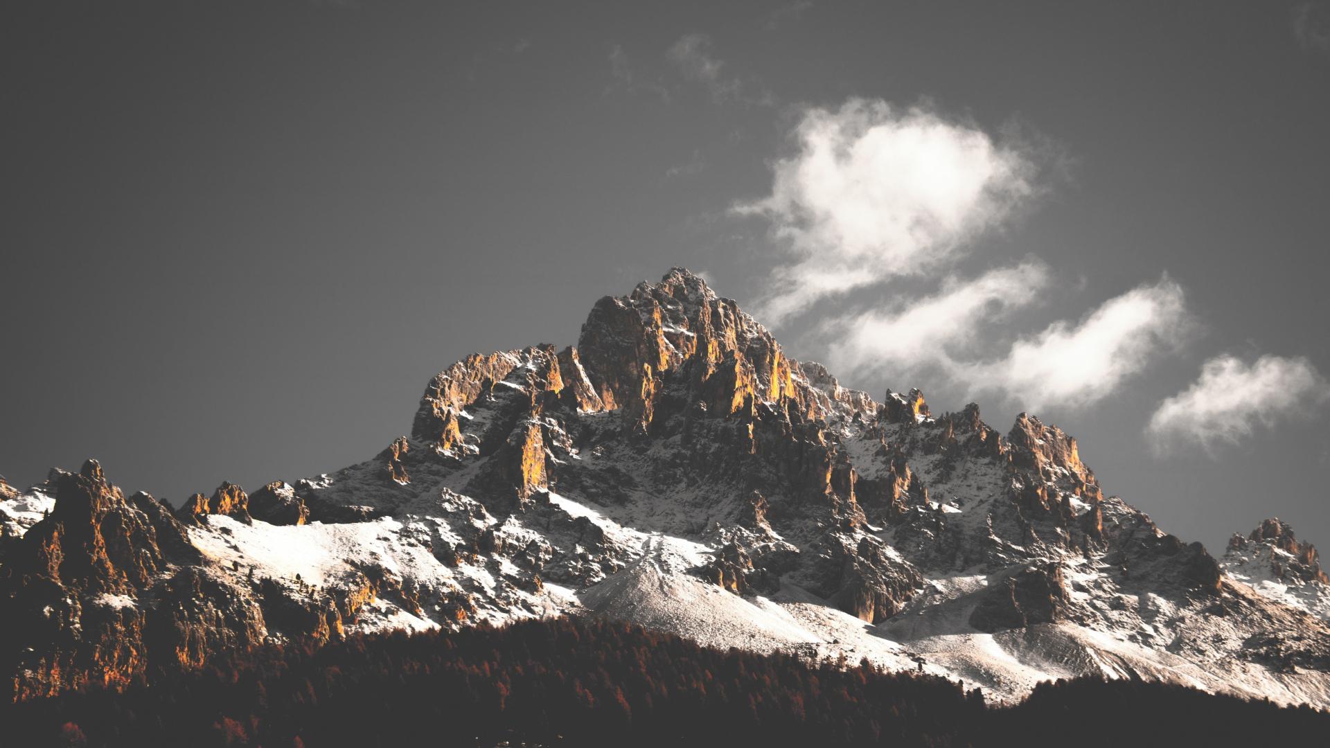 Mountain cliffs, nature, sky, clouds, tree, 1920x1080 wallpaper