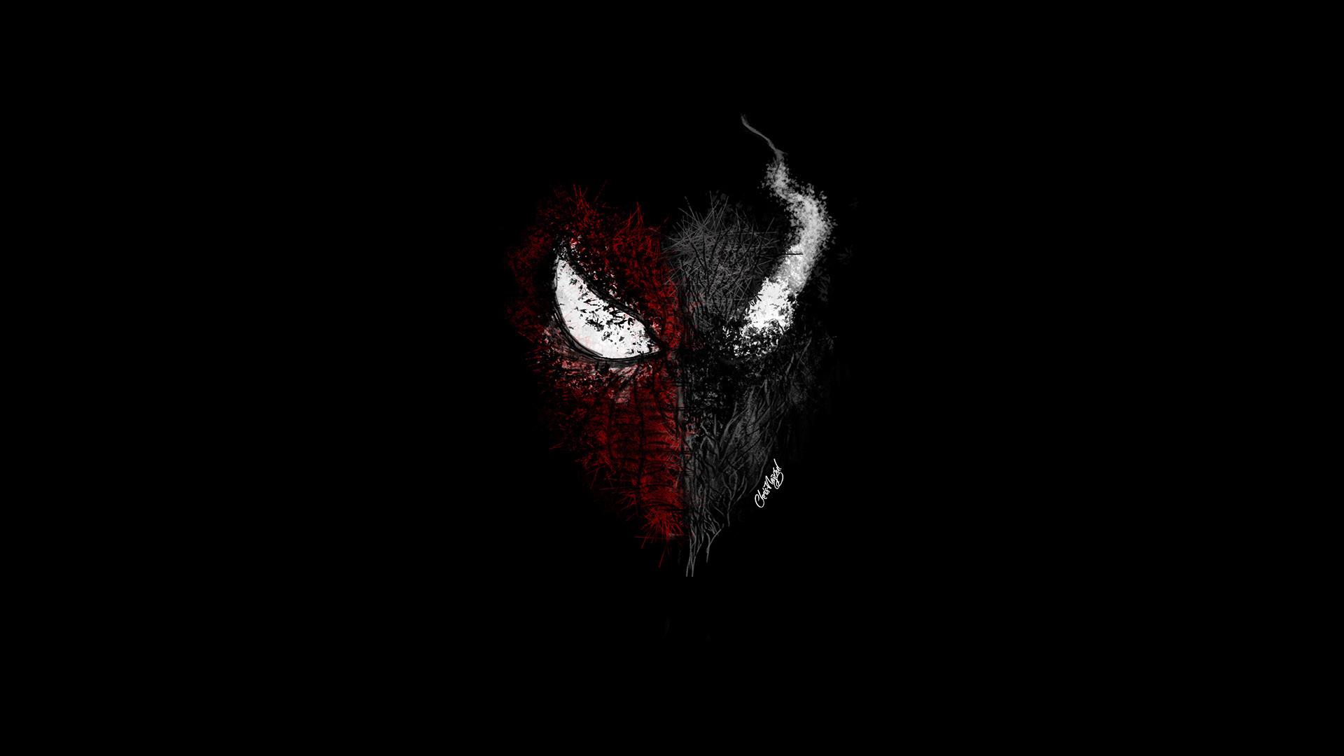 Black spiderman face wallpaper