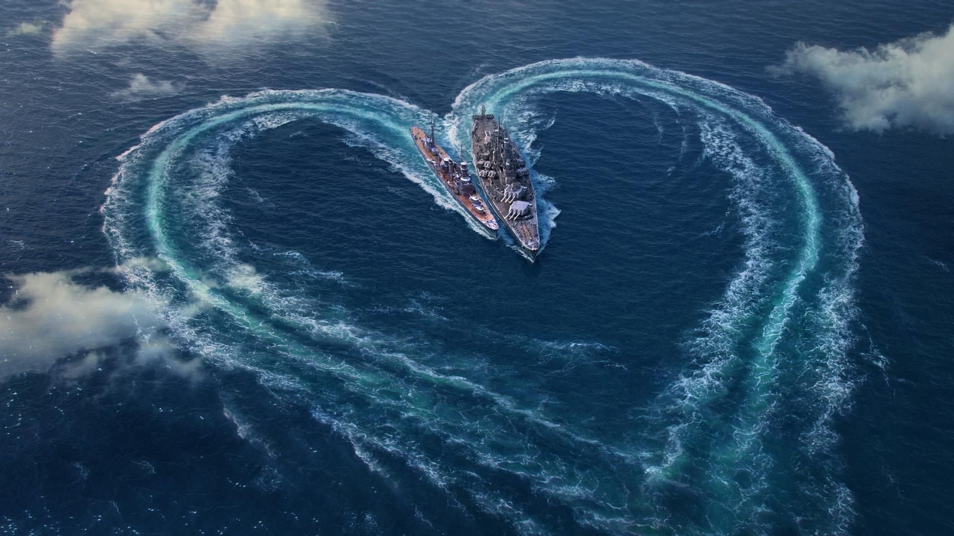 Download 1920x1080 Wallpaper Love Heart World Of Warships