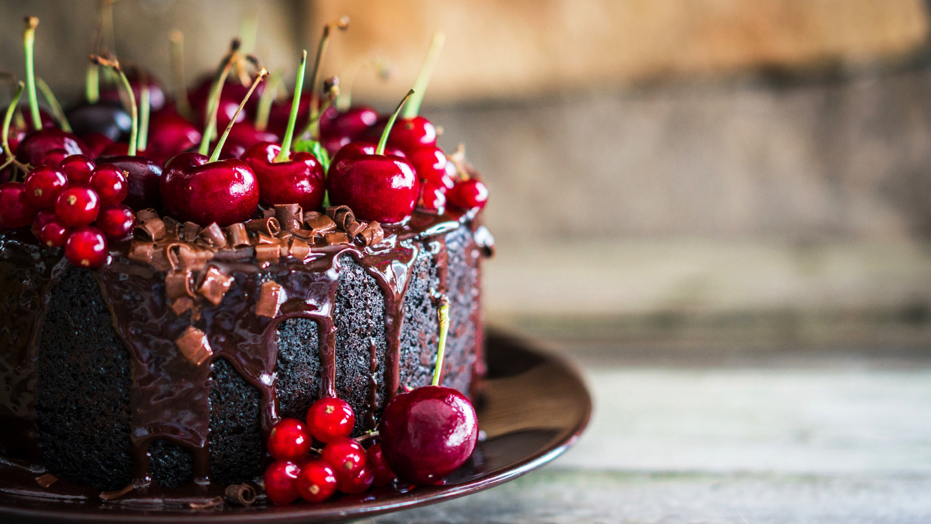 Download 1920x1080 Wallpaper Cherries Chocolate Cake Food Full Hd Hdtv Fhd 1080p 1920x1080 Hd Image Background 2349