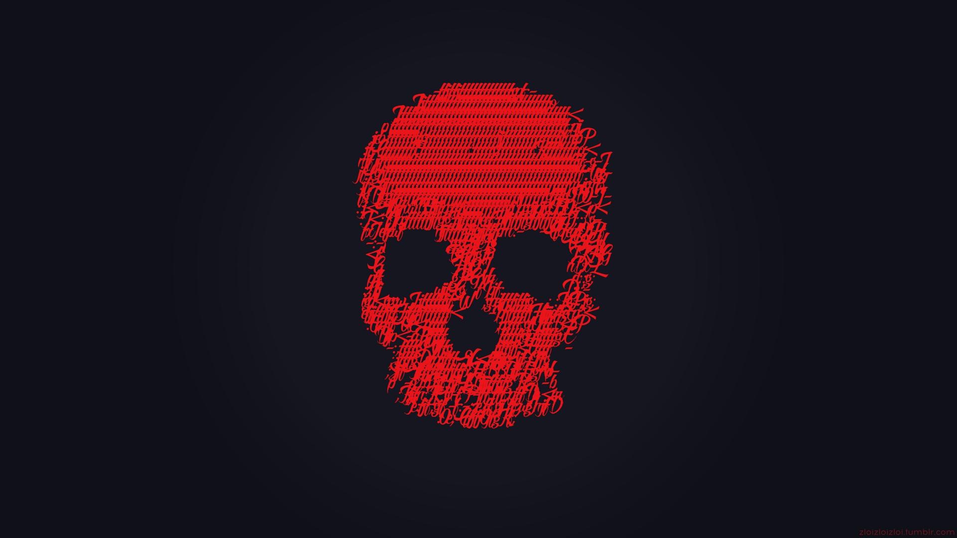 Download 1920x1080 Wallpaper Skull Glitch Art Minimal Dark Red