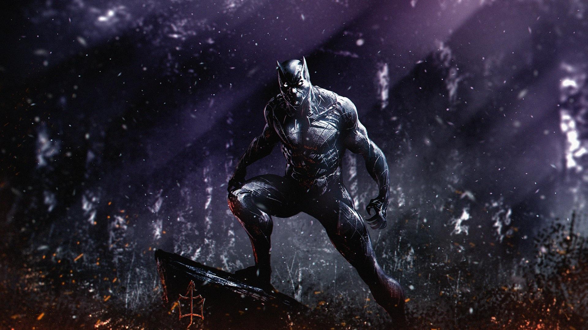 Download 1920x1080 Wallpaper Dark Superhero Marvel Black Panther