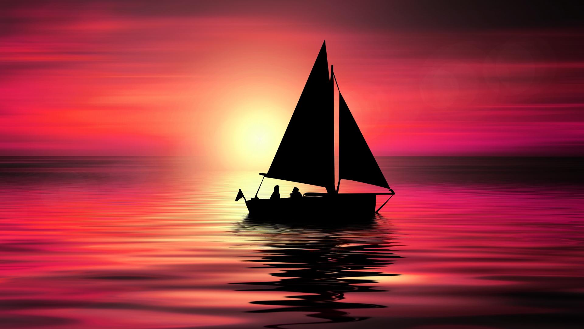 Artwork, sailboat, sunset, silhouette, 1920x1080 wallpaper