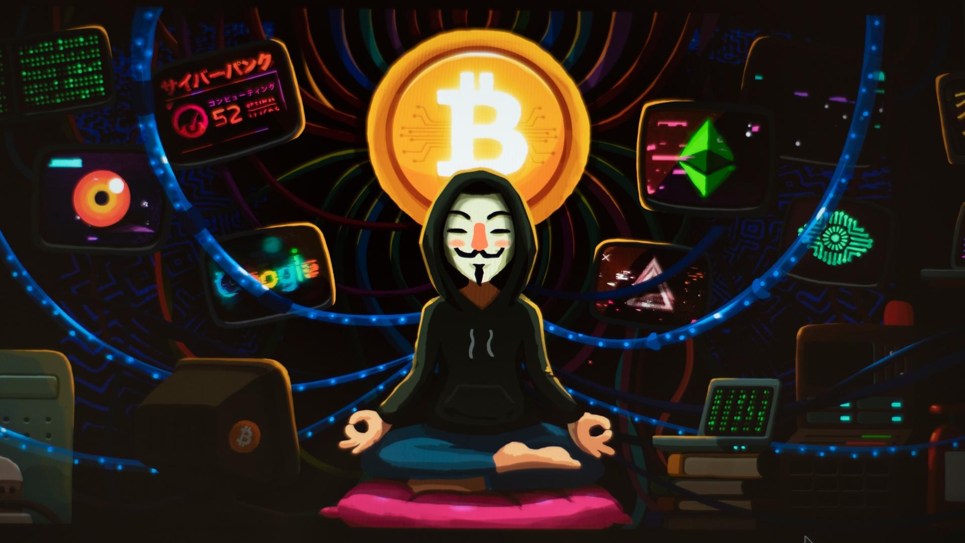 Download 1920x1080 Wallpaper Meditation Art Anonymous Hacker Bitcoin Full Hd Hdtv Fhd 1080p 1920x1080 Hd Image Background 21755