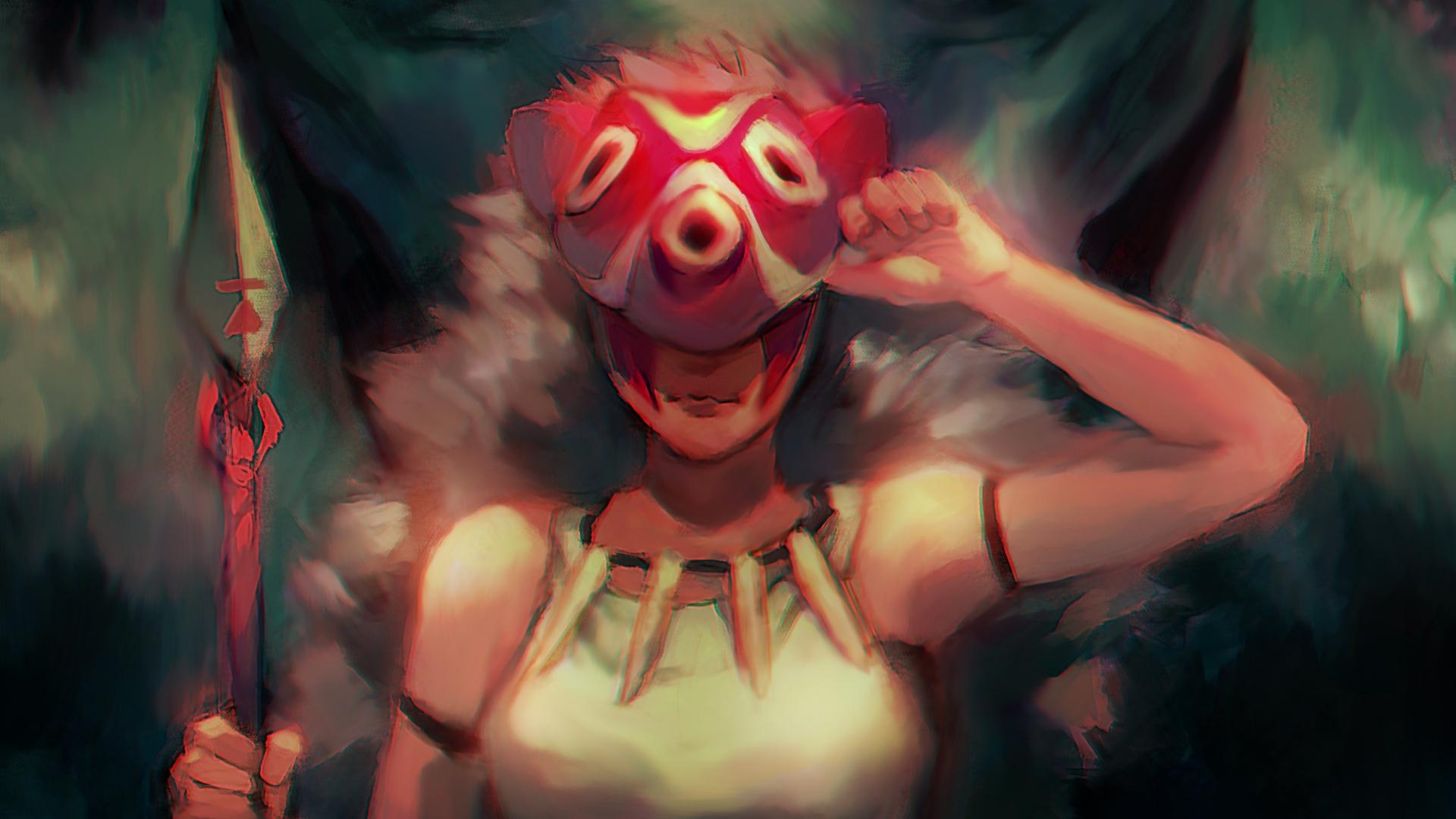 Download 1920x1080 Wallpaper Princess Mononoke Dark Anime Art Full Hd Hdtv Fhd 1080p 1920x1080 Hd Image Background 16986