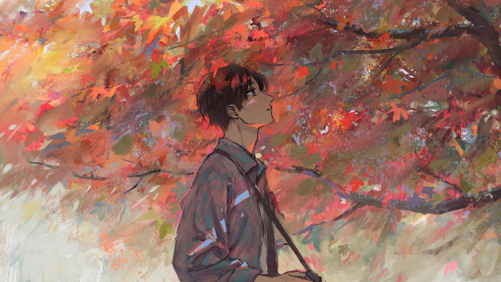 Download 1920x1080 wallpaper anime boy, autumn, tree, artwork, full hd, hdtv, fhd, 1080p ...