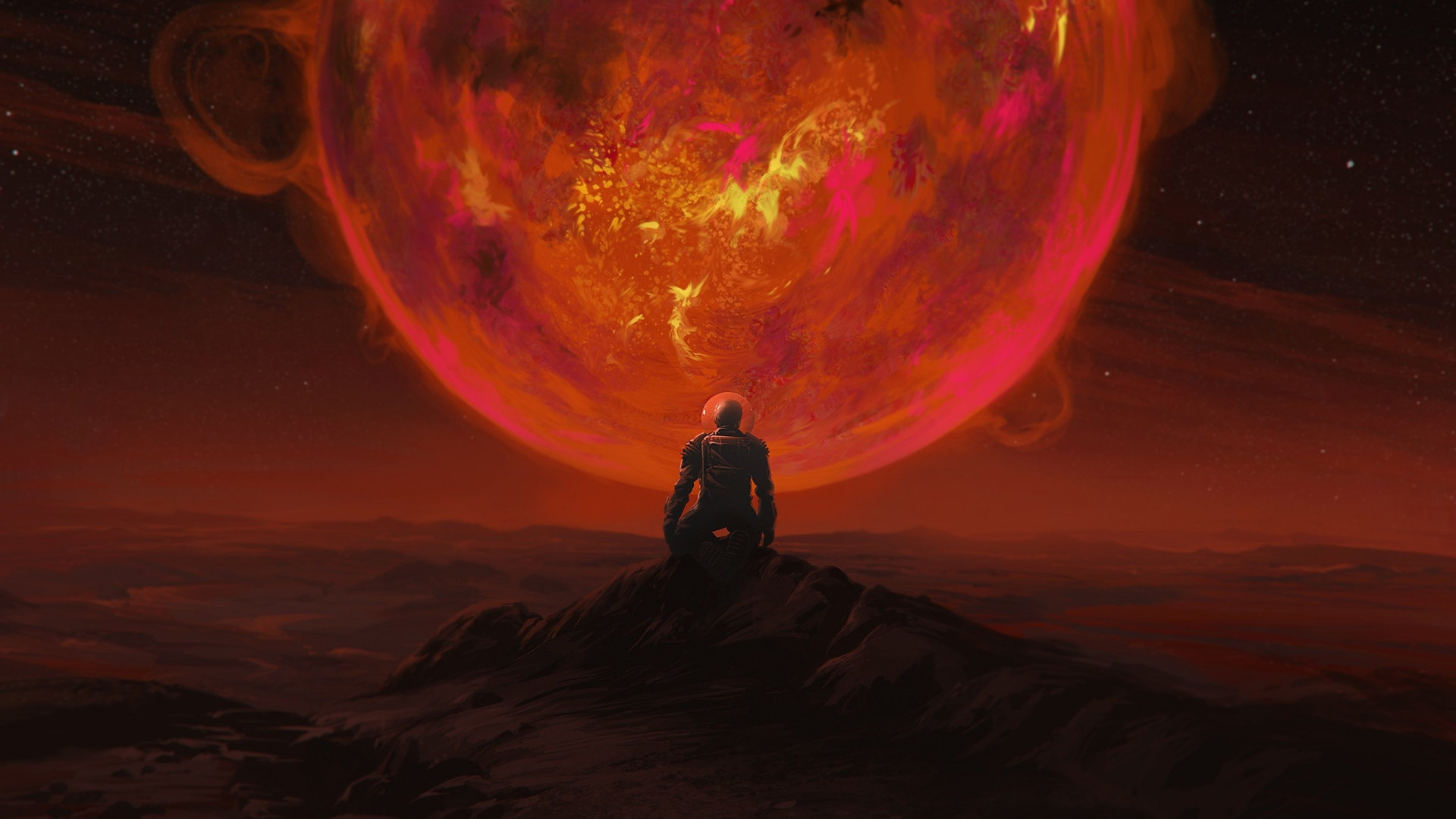 Download 1920x1080 wallpaper red glowing planet, astronaut ...