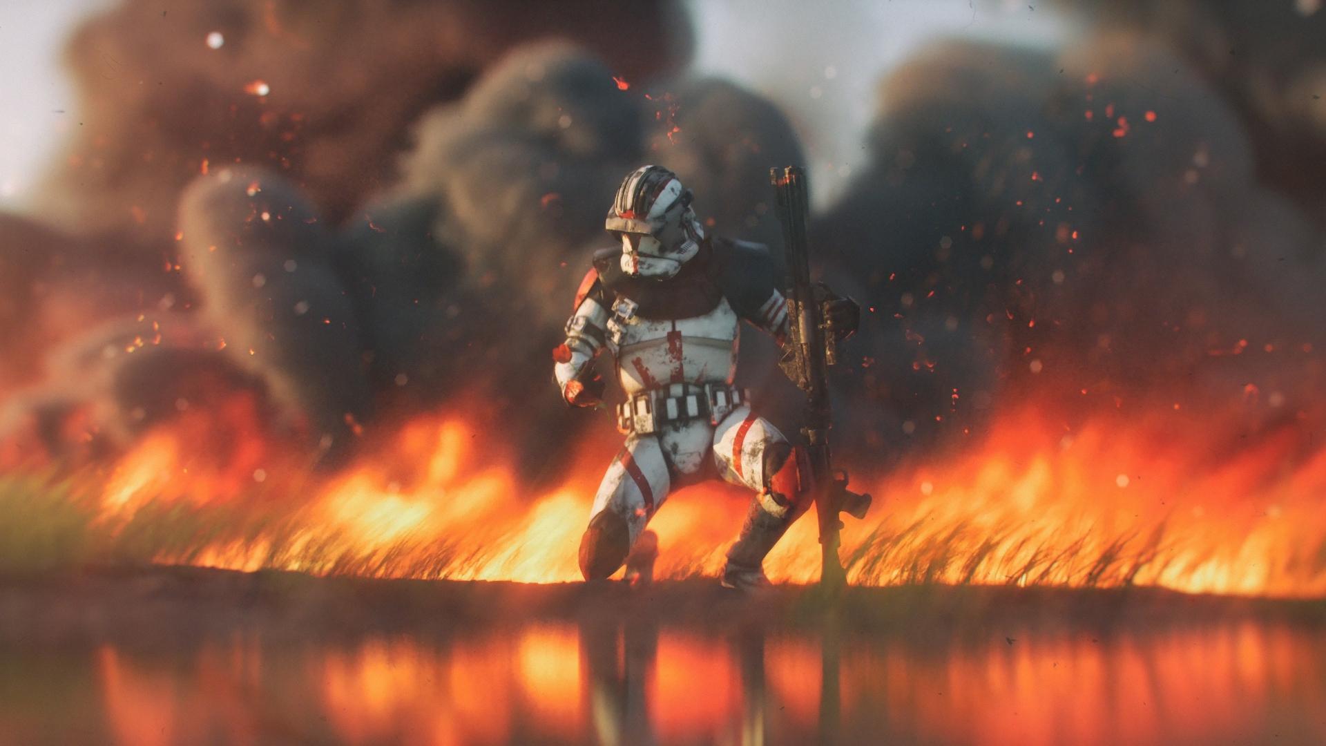 Download 1920x1080 Wallpaper Clone Trooper Star Wars Fire Full