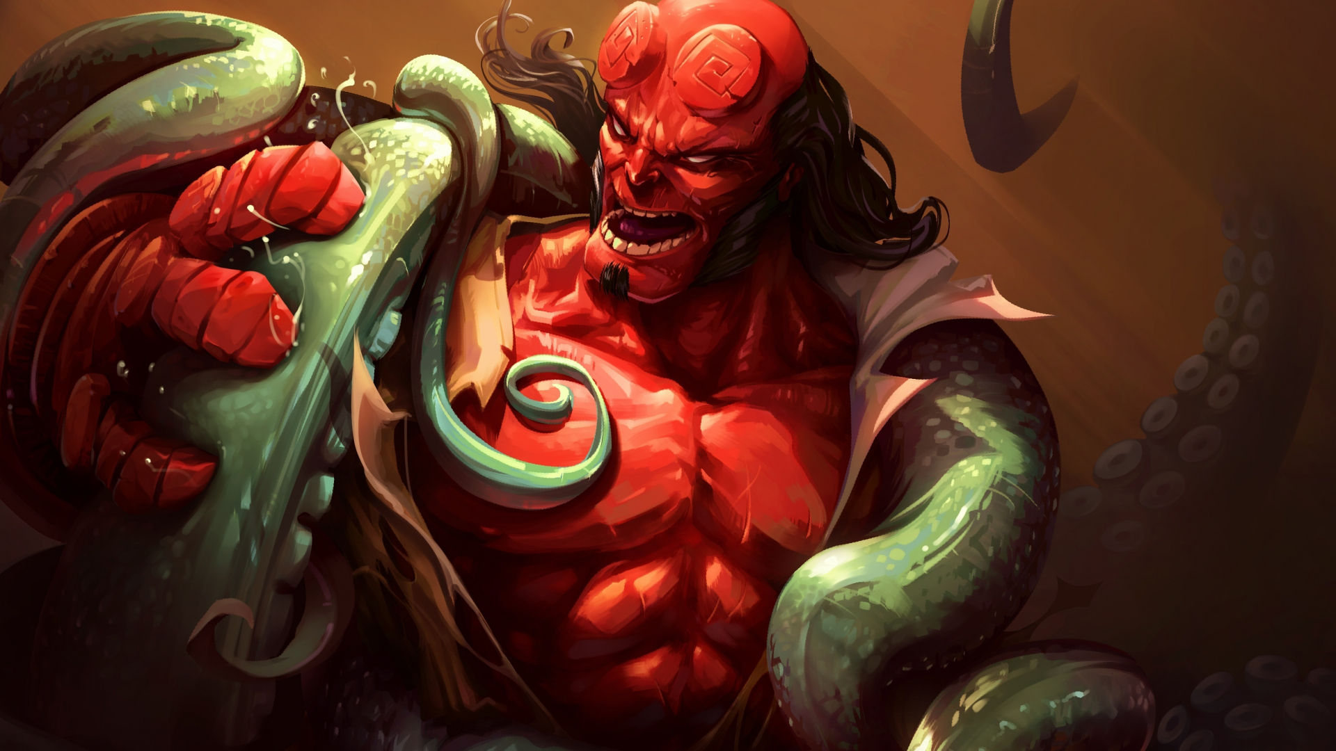 Download 1920x1080 Wallpaper Red Hellboy And Creature Fight Art