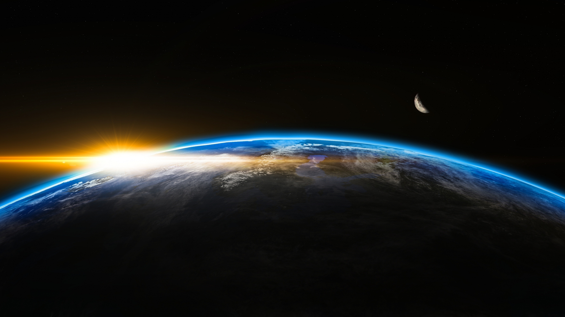 Download 1920x1080 Wallpaper Earth Planet Space Moon Sunrise