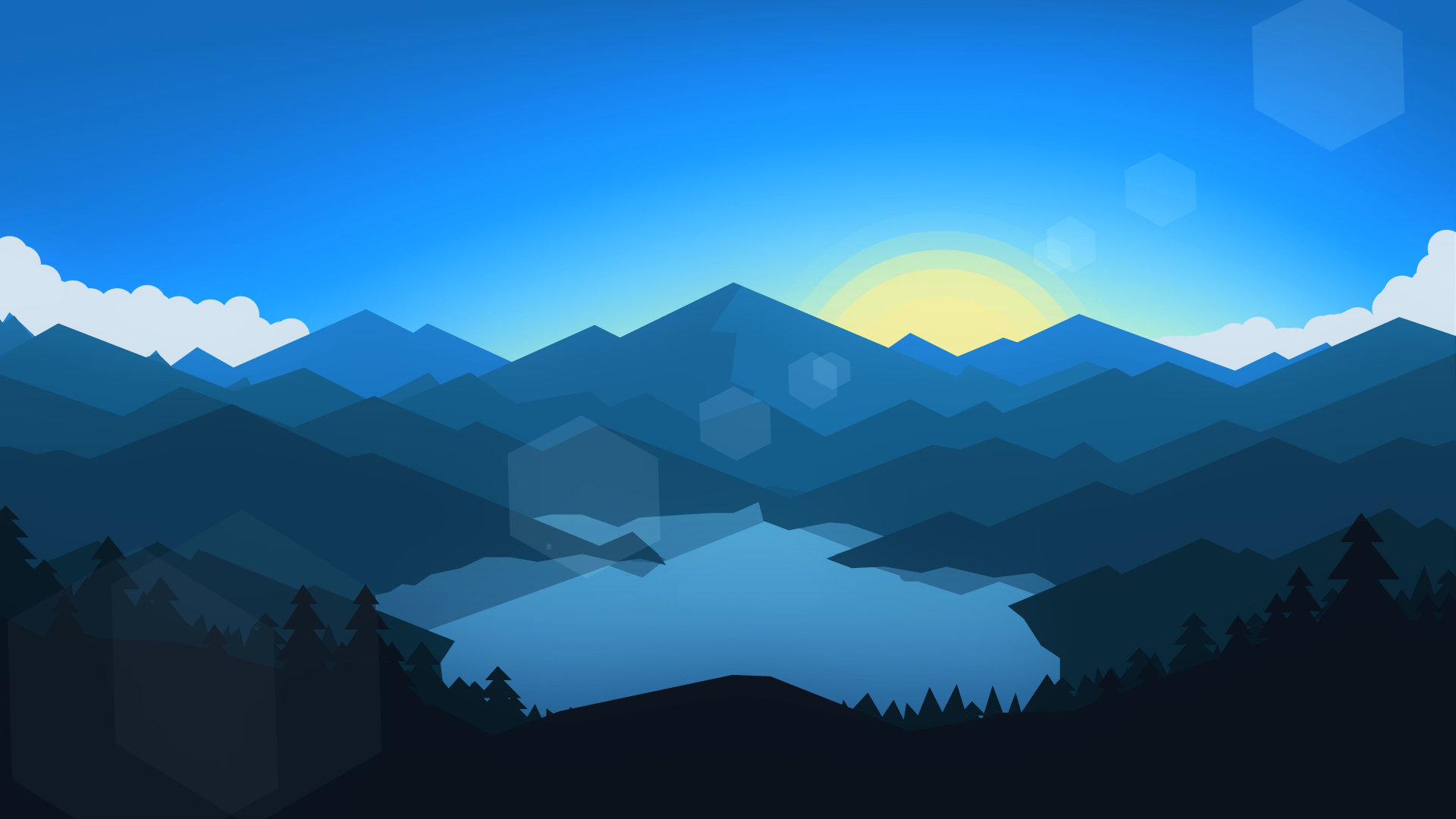 Download 1920x1080 Wallpaper Forest Mountains Sunset