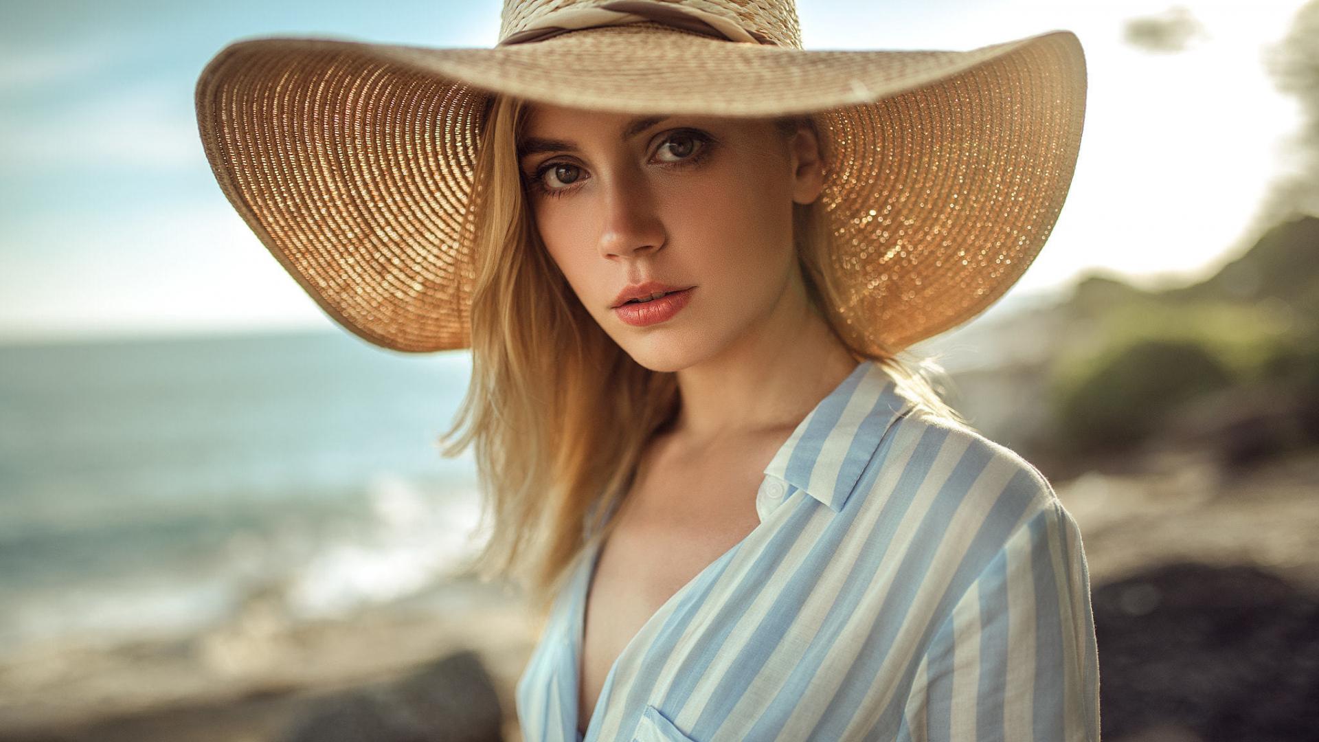 download 1920x1080 wallpaper ksenia kokoreva big straw hat girl
