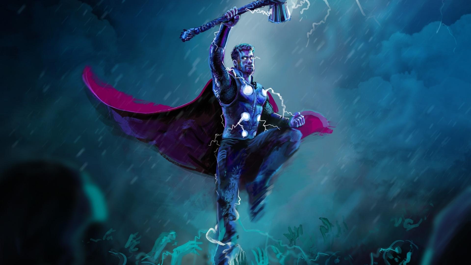 Download 1920x1080 Wallpaper Thor Thunder Storm Artwork