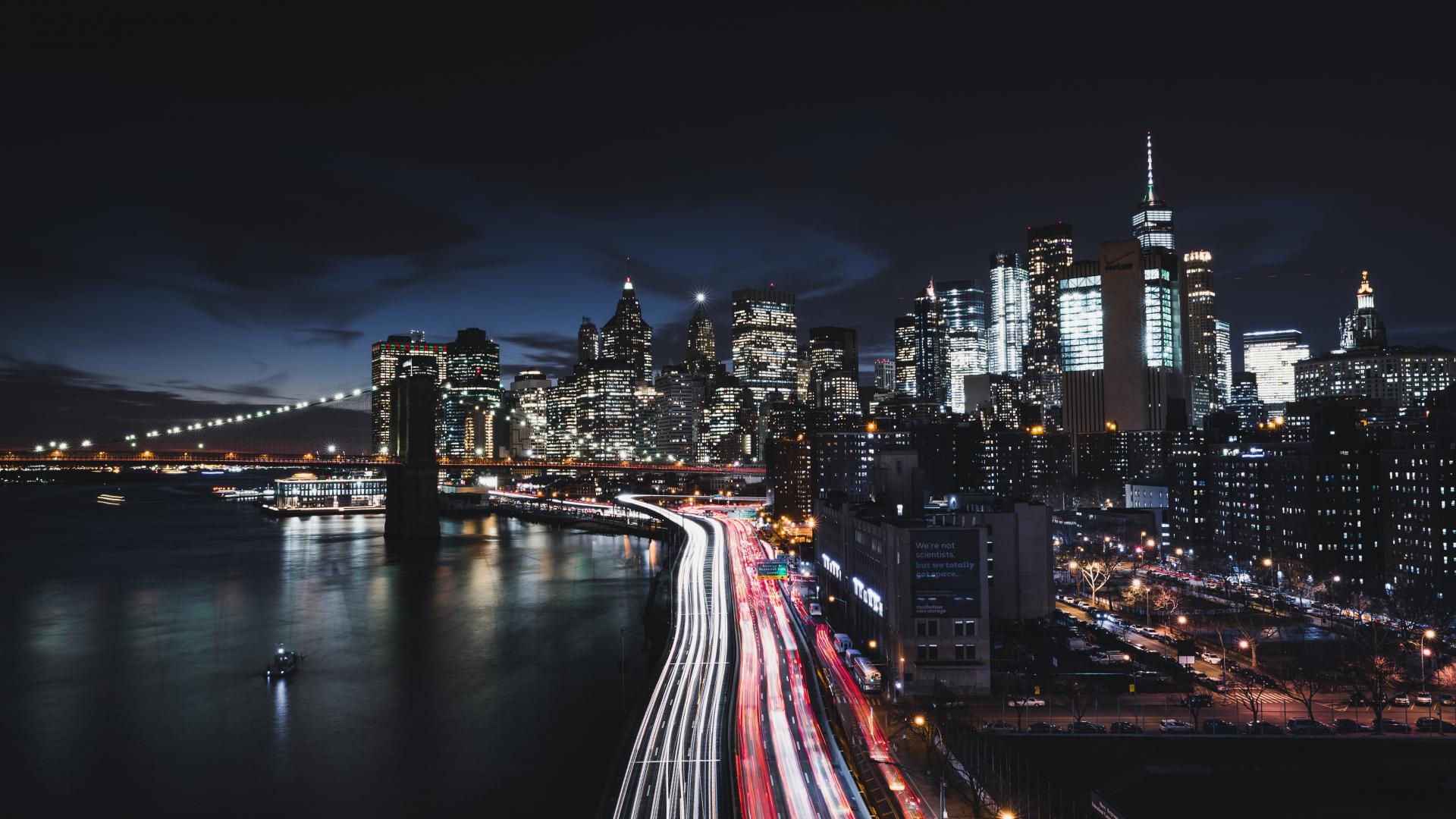 Download 1920x1080 Wallpaper New York City Night Road