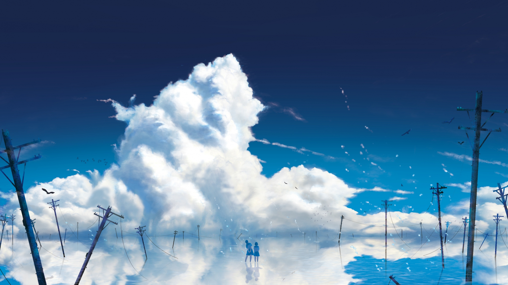 Anime girls, outdoor, clouds, 1920x1080 wallpaper