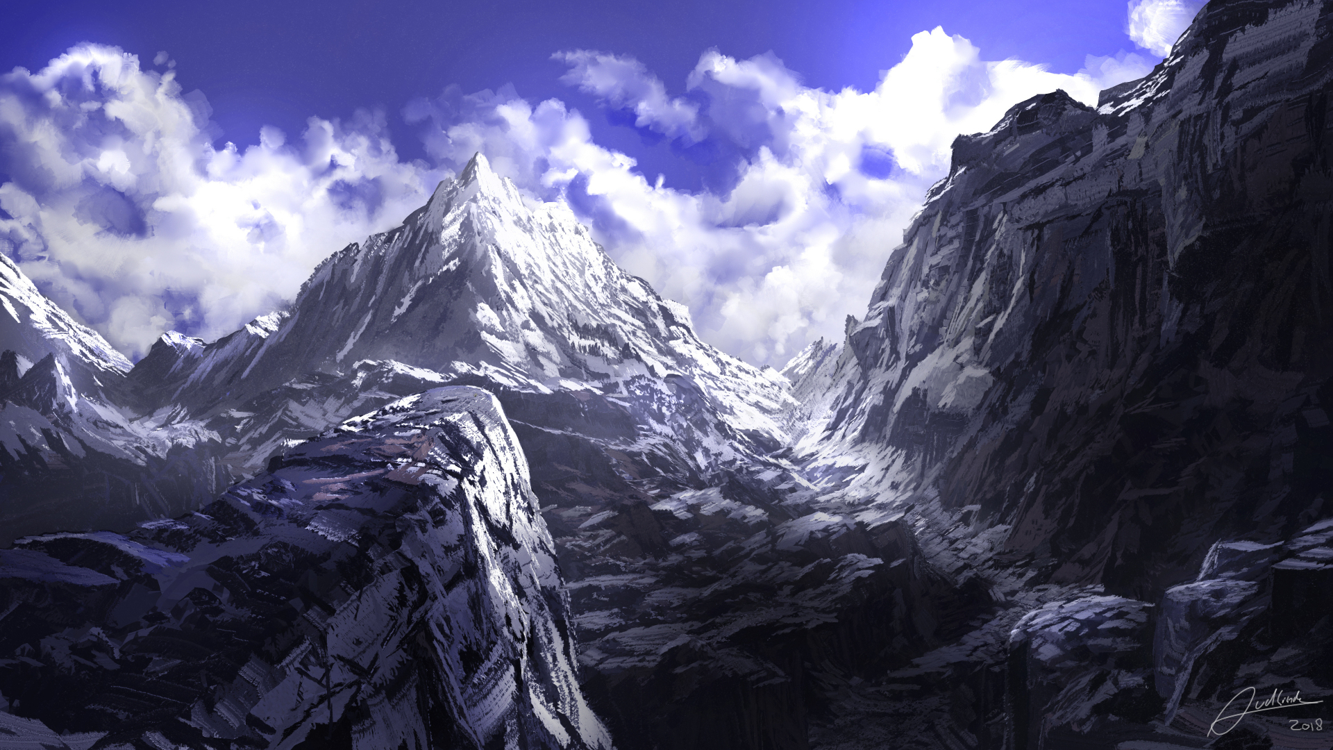 Download 1920x1080 Wallpaper Anime Mountains Summit Art Full