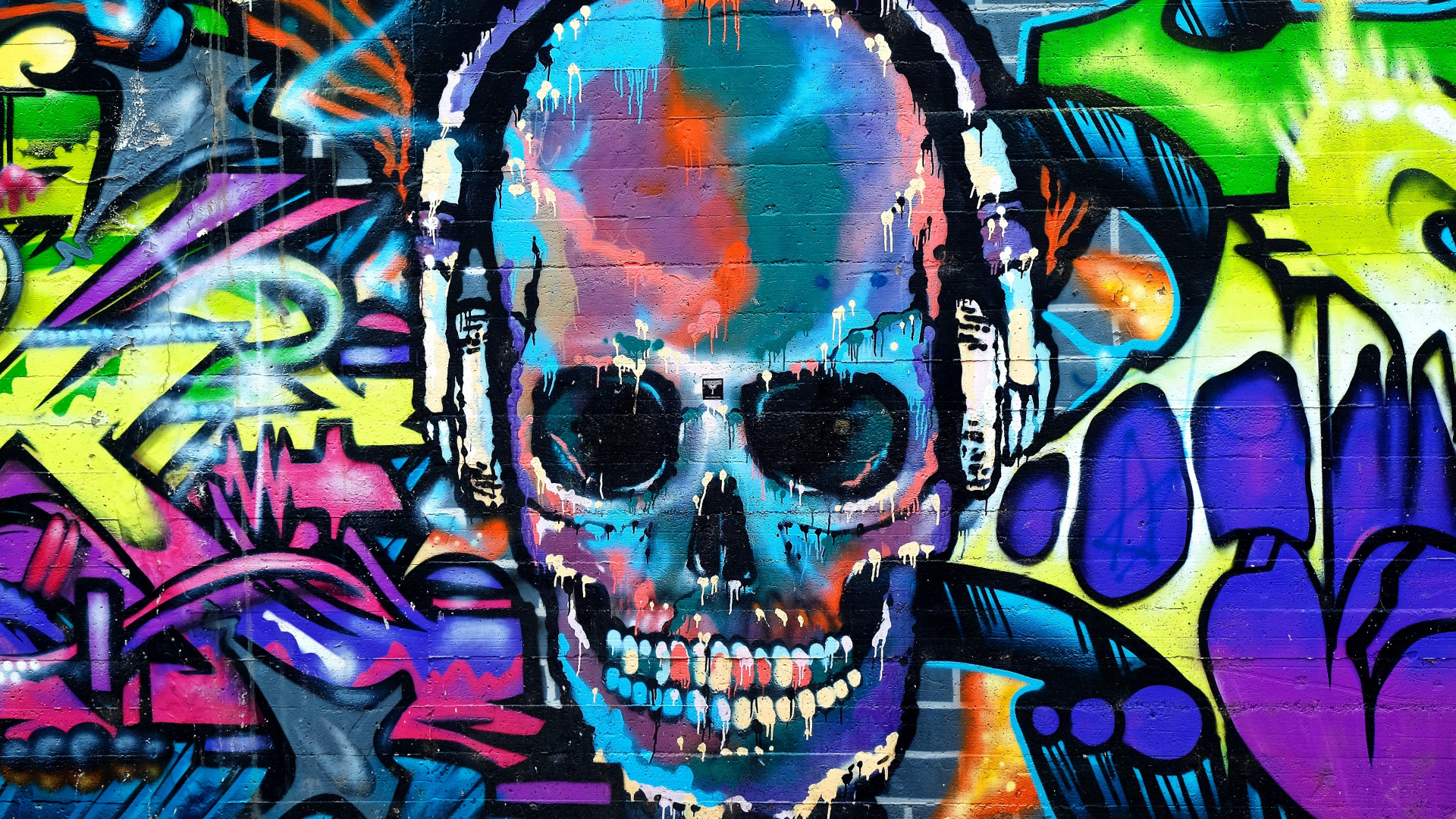 Graffiti skull colorful street art 1920x1080 wallpaper
