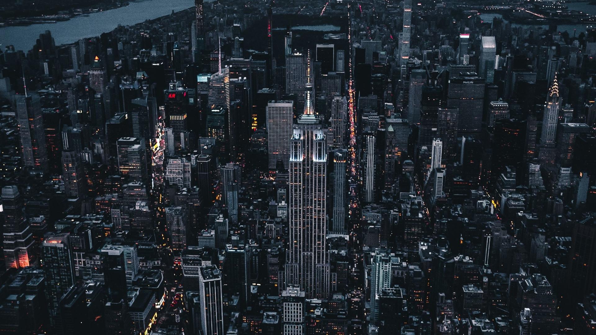 Download 1920x1080 Wallpaper New York Dark Night City Aerial View Full Hd Hdtv Fhd 1080p 1920x1080 Hd Image Background 16532