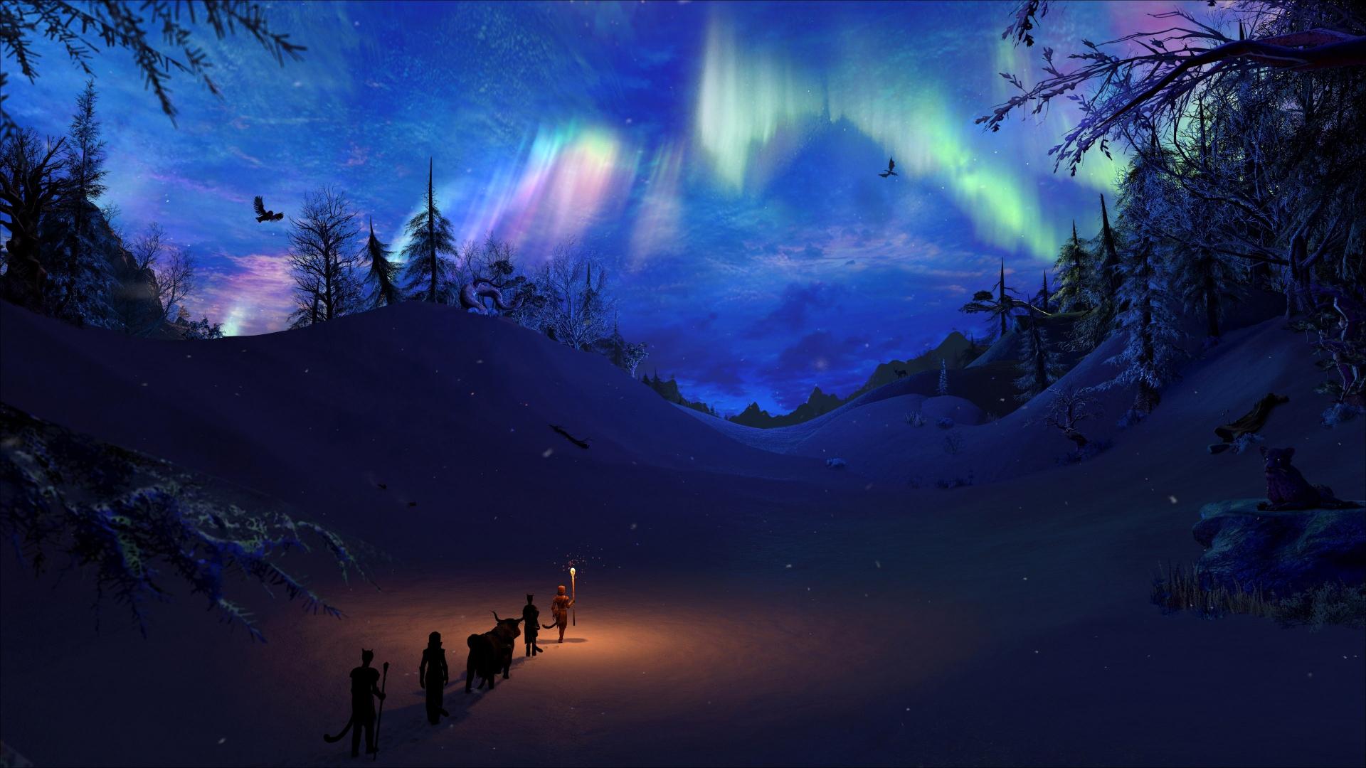 Download 1920x1080 Wallpaper Northern Lights Landscape The