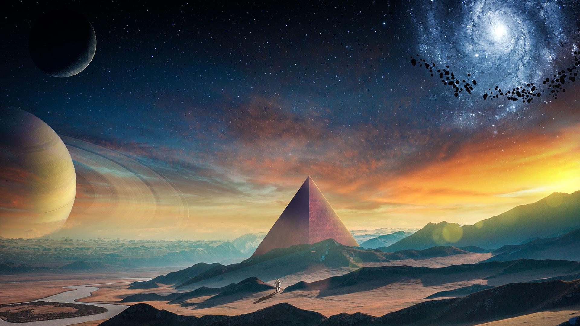 Download 1920x1080 wallpaper planet, fantasy, pyramids, space, landscape, full hd, hdtv, fhd ...