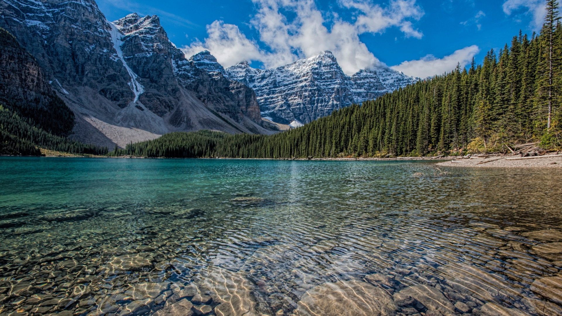 Download 1920x1080 Wallpaper Clean Lake Mountains Range Trees